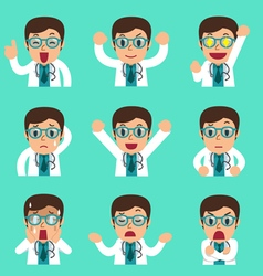 Cartoon male doctor faces showing different vector image