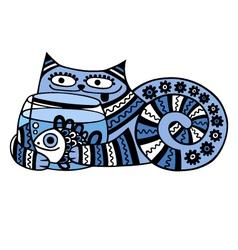 cat with aquarium vector image