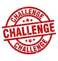 Challenge round red grunge stamp vector