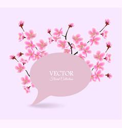 cherry blossom tree spring banner - speech bubble vector image