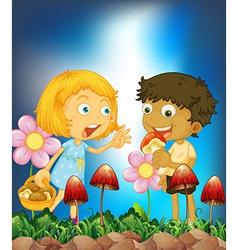 Children and mushroom vector