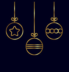 Christmas balls in gold color vector