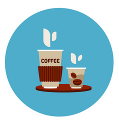 Coffee to go cups icon on blue round background vector