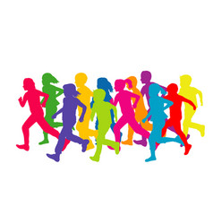 colored silhouettes running children vector image