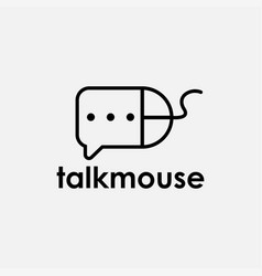 computer mouse and bubble chat logo icon template vector image