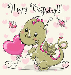 Cute cartoon dragon with a balloon vector
