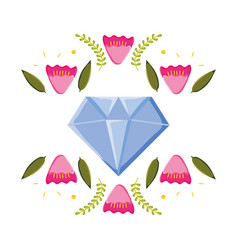 diamon rock jewerly with floral wreath pop art vector image
