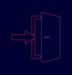 door exit sign line icon with gradient vector image