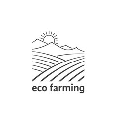eco farming logo with linear fields vector image
