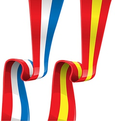France and spain ribbon flag vector