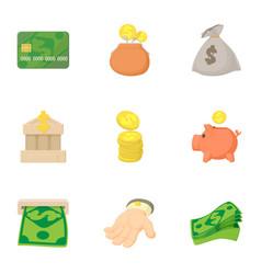 Funding icons set cartoon style vector