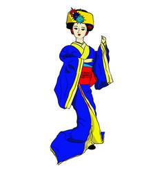 Geisha doll in blue kimono vector