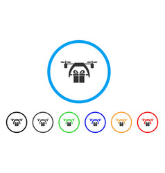 gift drone delivery rounded icon vector image