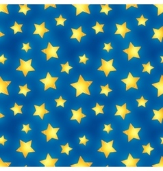 Glossy golden stars on blue seamless pattern vector image
