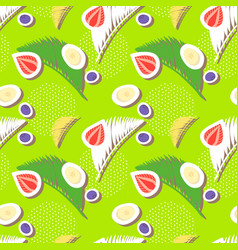 green seamless pattern with berries and palm leave vector image vector image