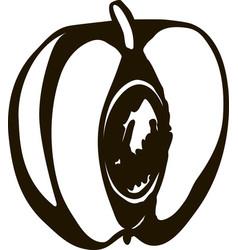 half of peach fruit or nectarine flat icon vector image