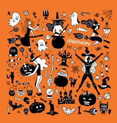 halloween silhouettes witch pumpkin black cat and vector image
