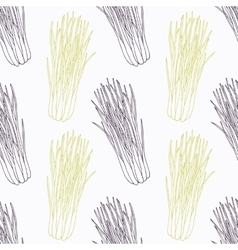 Hand drawn lemongrass branch wirh flowers stylized vector