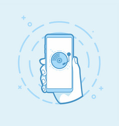 hand holding smartphone with old record player vector image