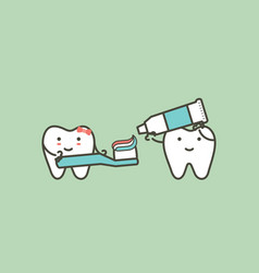 Healthy couples tooth are brushing teeth vector