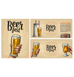 Horizontal and vertical poster for beer fest vector
