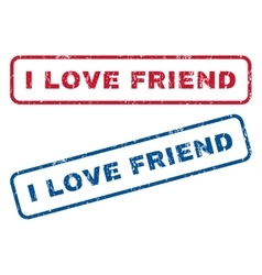 I Love Friend Rubber Stamps vector