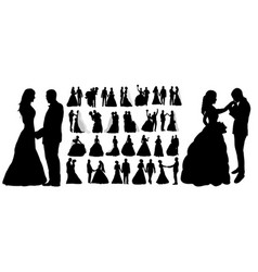 Isolated silhouette wedding collection set vector