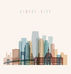 Jersey city state new jersey skyline detailed silh vector