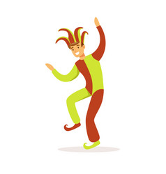 jester dancing european medieval character in vector image