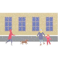Lady walking dog on leash strolling along street vector