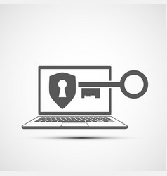 laptop screen with keyhole and key vector image