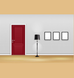 living room interior with closed door lamp and e vector image