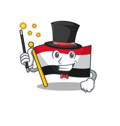 Magician cartoon flag yemen in with mascot vector