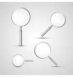Magnifying Glass Set Isolated on Grey Background vector image
