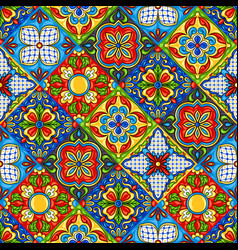 mexican talavera ceramic tile pattern vector image