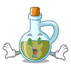 Money eye small bottle of olive oil mascot vector