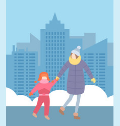 Mother with little daughter wearing warm clothes vector