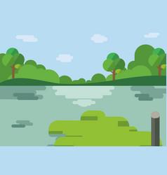 Nature landscape cartoon design with lake vector