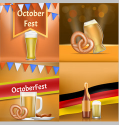 oktoberfest banner set realistic style vector image