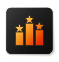 Orange glowing ranking star icon isolated on white vector