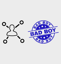 outline user links icon and grunge bad boy vector image
