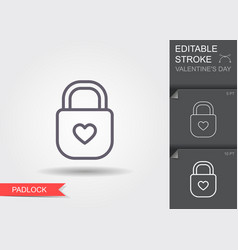 padlock with heart keyhole line icon with vector image