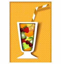 paper cut cocktail poster design template vector image