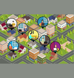 People working from home conceptual isometric vector