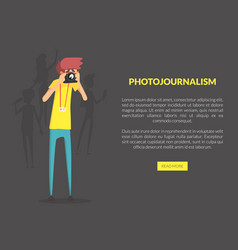 photojournalism landing page template with space vector image
