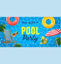 Pool party invitation top vector