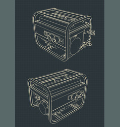 Portable generator drawings vector