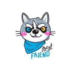 portrait husky puppy best friend print for t vector image