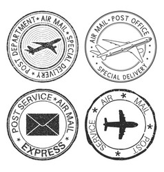 Postmarks with airplane and envelope symbols vector