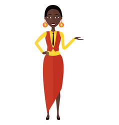 presenting smiling african woman isolated vector image